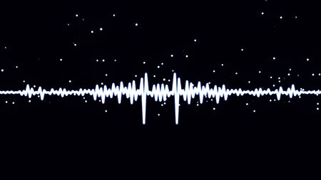 Monochrome voice record, artificial intelligence, waveform equalizer and visualization of audio wave. White pulsating signal on black background.