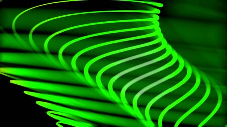 Abstract animation of bright colorful neon spirals rotating in different planes on the dark background. Abstract spiral rotating glow lines, computer generated background