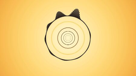 Abstract circular spinning spectral wave design, black vibrations on yellow background, seamless loop. Abstract visualization of music beat. Imagens
