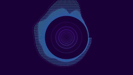 Abstract animation of colorful sound wave circle equalizer. Audio spectrum simulation for music, computer calculating, futuristic, ads, animation.