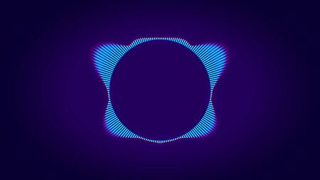 Abstract animation of colorful sound wave circle equalizer with animated neon silhouette of elephant in the center. Audio spectrum simulation for music, computer calculating and animation. Imagens