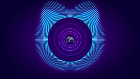 Abstract animation of colorful sound wave circle equalizer with animated neon silhouette of elephant in the center. Audio spectrum simulation for music, computer calculating and animation.