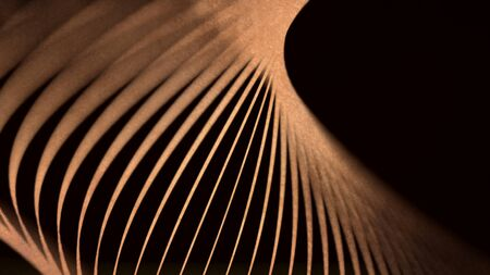 Beautiful abstraction of brown neon lines swirling on black background. Spectrum looped and animated background with neon circle lines, LED screens and projection mapping.