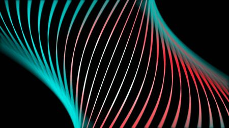 Beautiful abstraction of neon lines swirling and changing their color on black background. Abstract background with neon circle lines, LED screens and projection mapping.