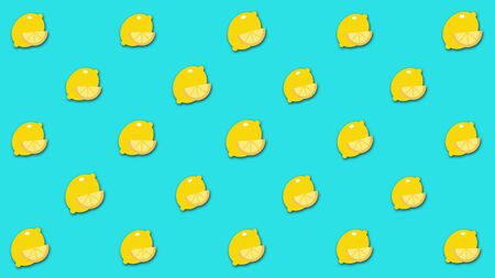 Beautiful abstract cartoon background with large number of small animated lemon images. Beautiful cartoon animation, abstract graphics in trendy colors and style. Stock Photo