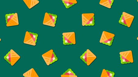 Abstract cartoon sandwiches background with large number of small animated sandwiches icons. Beautiful cartoon animation, abstract graphics in trendy colors and style. 스톡 콘텐츠