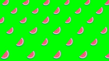 Light cartoon watermelons background with lots of small rotating watermelons icons. Beautiful cartoon animation, abstract graphics in trendy colors and style.