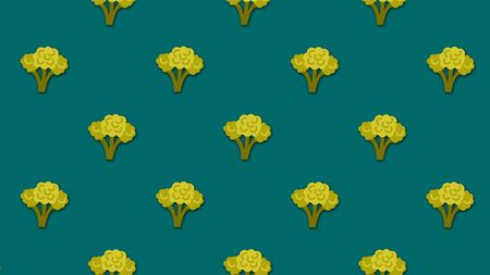 Abstract colorful cartoon background with lots of small animated broccoli images. Beautiful cartoon animation on colorful background. Imagens