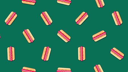 Abstract colorful hot dogs background video clip motion in a seamless repeating loop. Beautiful cartoon animation on colorful background. Stock Photo - 128892549