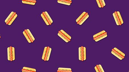Abstract colorful hot dogs background video clip motion in a seamless repeating loop. Beautiful cartoon animation on colorful background. Imagens
