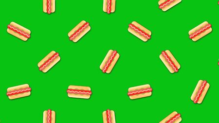 Abstract animation of lovely cartoon background with large number of small animated hot dogs images. Beautiful cartoon animation on colorful background.