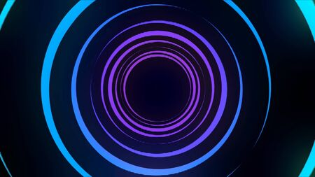 Abstract light tunnel formed by colorful moving rings on black background, seamless loop. Blue and purple neon circles rotating with different speed.