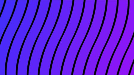 Abstraction with simple flat wavy lines narrowing down on black background. Bending blue stripes, abstract wavy moving and changing surface. Reklamní fotografie