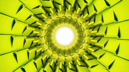 Abstract rotating bright tunnel with the white light in its center, seamless loop. Unusual tunnel of light green color with spinning sharp corners, dynamic background.