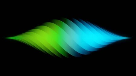 Amazing colorful diamond-shaped horizontal spiral narrowing to the right and left edges isolated on black background. Beautiful rotating gradient green and blue spiral, seamless loop. Banco de Imagens
