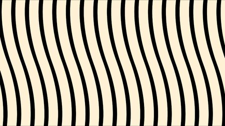 Abstract wavy surface, narrow vertical lines approaching and becoming wider. White stripes moving and bending, lined monochrome background. Imagens