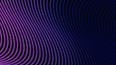 Abstract wavy surface, narrow vertical lines approaching and becoming wider. Dark blue stripes moving and bending, lined colorful background.