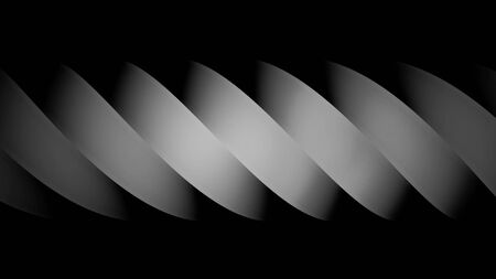 Abstract white spiral of wide curved stripes moving on black background. Monochrome spiral figure flowing from right to left, seamless loop.