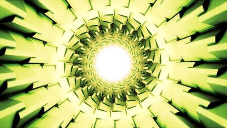 Surreal futuristic background with a tunnel with many rows of rotating geometric forms, seamless loop. Bright green tunnel with flowing light reflection moving slowly.