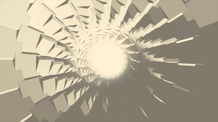 Endless rotation of gray circular tunnel with a ring of white light in the center, seamless loop. Monochrome spinning tunnel with moving geometric shapes.