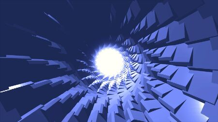 Flying inside cyber tunnel in endless motion with rotating parts of its shell, 3D effect. View inside of breathtaking blue tube with the bright circle of white light.