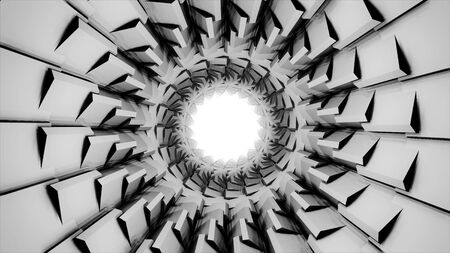 Abstract travel inside black and white tube with spinning geometric figures as its shell, seamless loop. Monochrome 3D tunnel with the bright light at the end of it.