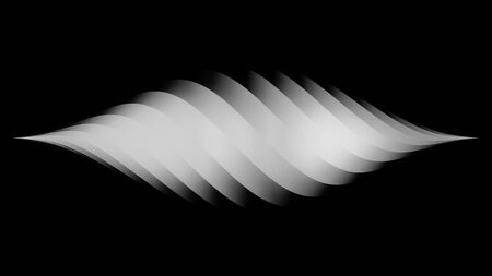 Amazing white diamond-shaped horizontal spiral narrowing to the right and left edges isolated on black background, monochrome. Animation. Beautiful rotating gradient spiral, seamless loop. Banque d'images - 128893542