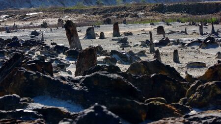 Rocks on background of quarry. Stock footage. Rocky relief of abandoned quarry with minerals on surface on forest background