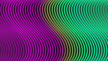 Graphic design of striped background moving waves. Animation. Abstraction of colorful moving wavy striped background. Banque d'images - 128894082