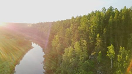 Bright sunny rays falling on green forest by river. Stock footage. Warm sunlight falls on beautiful dense forest with river reflecting clear sky. Summer sunny landscape with forest Banque d'images - 128894472