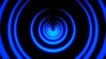 Abstract animation of light neon tunnel formed by colorful moving rings on black background. Animation. Colorful abstraction of neon circles rotating with different speed. Banque d'images - 128898895