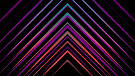 Colorful abstraction of neon triangles chaotically appearing on the black background. Animation. Neon multi-colored geometric shapes and lines animation