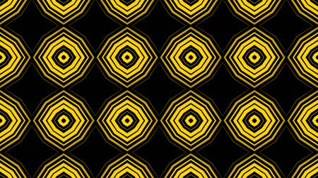 Abstract animation of hypnotic multi colored neon elements rotating in kaleidoscope. Animation. Animation of neon zoom figures on black background.