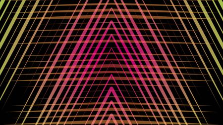 Beautiful hypnotic abstraction of multi-colored neon triangles rotating on the black background. Animation. Neon multi-colored geometric shapes and lines animation Zdjęcie Seryjne