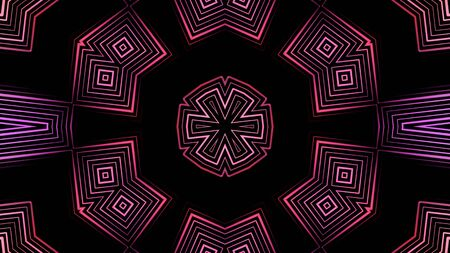 Hypnotic colorful neon elements and particles rotating in kaleidoscope. Animation. Abstract kaleidoscope with fractal colored motion background and abstract multicolored neon graphics