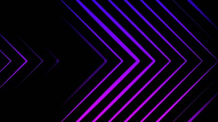 Abstract pointing arrows from lines on black background. Animation. Neon sign lines on black background. Abstract of neon colored arrows moving on black background