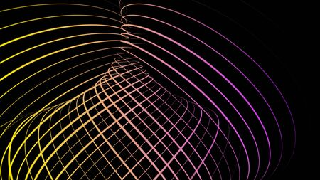 Ribbon tunnel on black background. Animation. Abstract animation of multi-colored lines woven into tunnel in black space Stockfoto - 129372354