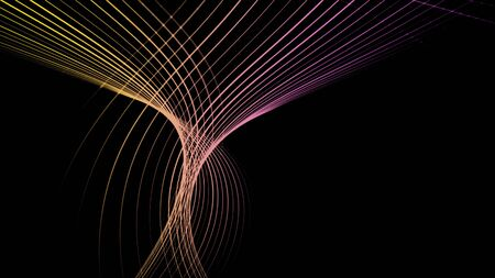 Ribbon tunnel on black background. Animation. Abstract animation of multi-colored lines woven into tunnel in black space Kho ảnh