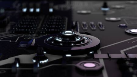 Abstract animation of 3d electronic device, rotating chrome black circles and illuminating neon rings on the system board. Animation. Futuristic technology concepts