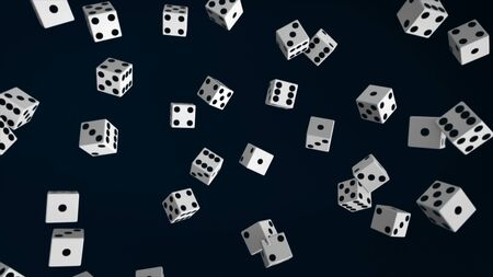 Abstract animation of many dice flying up on the dark background. Animation. Black and white dice loop moving, 3d rendering