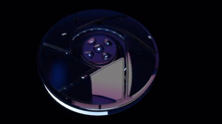 Futuristic abstraction of 3d electronic device on the black background. Central sight of wheels in technology. Subtle mechanical parts on black background.