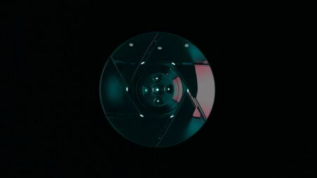 Futuristic abstraction of 3d electronic device, disintegrating into component parts on the black background. Animation. Central sight of wheels in technology. Subtle mechanical parts on black.