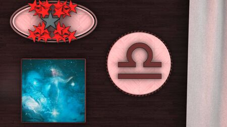 Abstract animation of 3d astrological Zodiac sign Libra hanging on the wall of threedimensional room image. Animation. It is an action, energy, knowledge and Venus home sign. Фото со стока