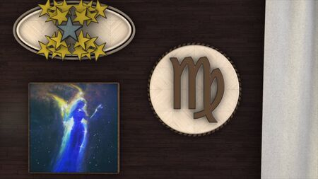 Abstract animation of 3d astrological Zodiac sign Virgo hanging on the wall of three dimensional room. Animation. Horoscope. Part of a Zodiac series.