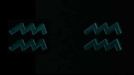 Abstract animation of two 3d astrological Zodiac signs Aquarius rotating on a dark background. Animation. Horoscope. Part of a Zodiac series.