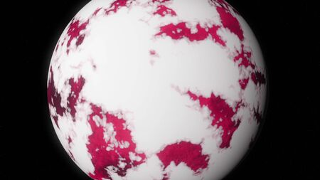 Abstract animation of pink planet orbiting in space and covering with melting ice on the black background. Animation. The process of glacier melt