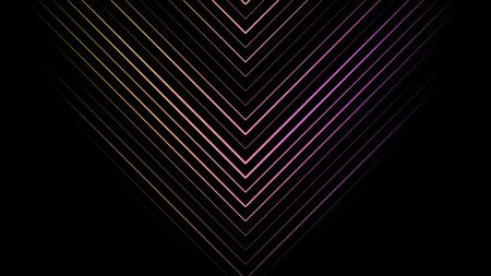 Colorful gradient arrows of many narrow lines pointing down and moving downwards on black background, seamless loop. Animation. Yellow and purple crossed lines moving down.