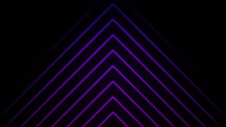 Glowing blue and purple neon laser light rays pointing up and flowing upwards on black background, seamless loop. Animation. Many narrow lines in a form of triangle. Zdjęcie Seryjne
