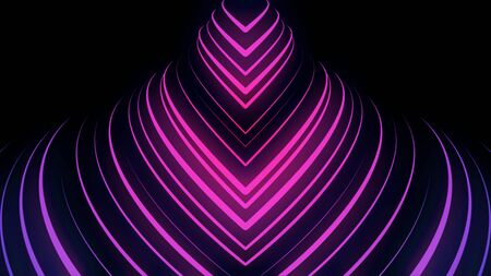 Abstract breathtaking motion of many neon sttripes on black background, seamless loop. Animation. Pink crossed lines rotating with 3D effect.