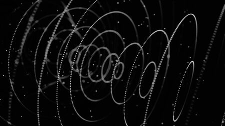 Abstract signal or radar waves in slow motion with 3D effect, seamless loop. Animation. Rings of different diameter formed by small particles flowing on black background, monochrome. Zdjęcie Seryjne